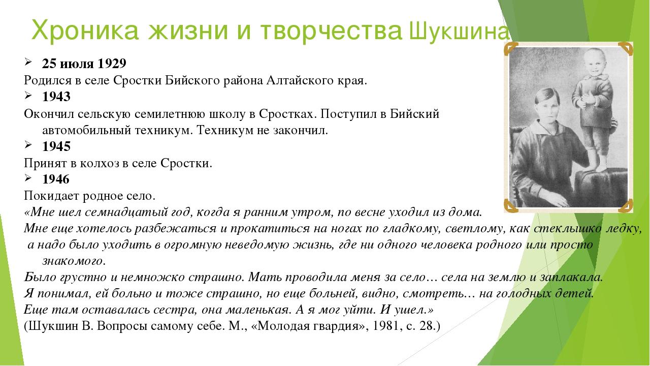 Хроника жизни и творчества Шукшина 25июля 1929 Pодился вселе Сростки Бийско...