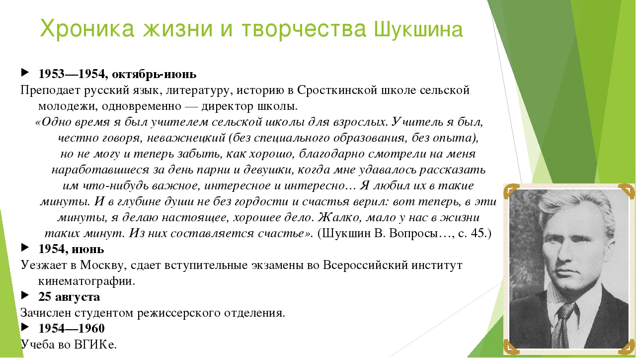 Хроника жизни и творчества Шукшина 1953—1954, октябрь-июнь Преподает русский...