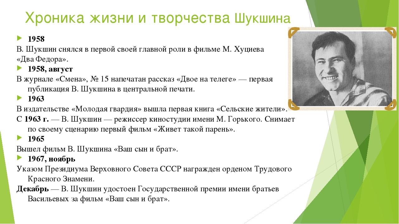 Хроника жизни и творчества Шукшина 1958 В.Шукшин снялся впервой своей главн...