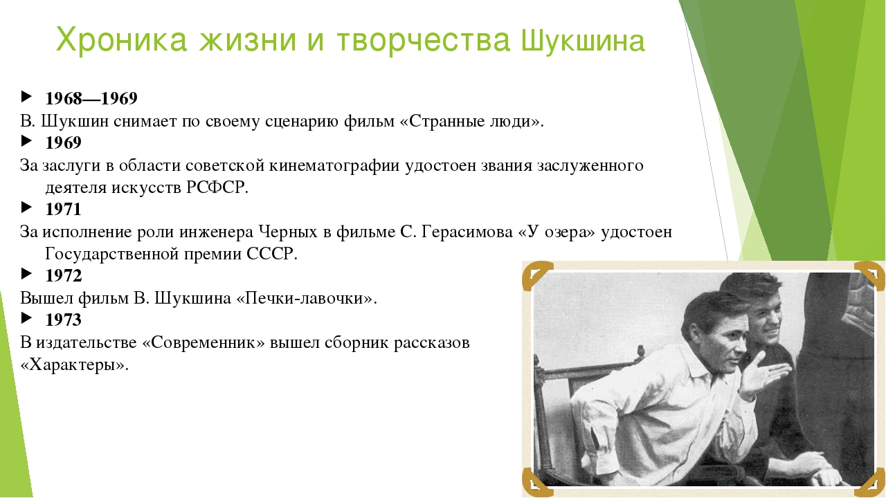 Хроника жизни и творчества Шукшина 1968—1969 В.Шукшин снимает посвоему сцен...
