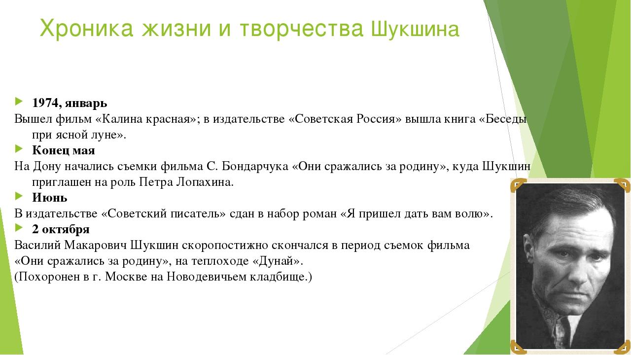 Хроника жизни и творчества Шукшина 1974, январь Вышел фильм «Калина красная»;...