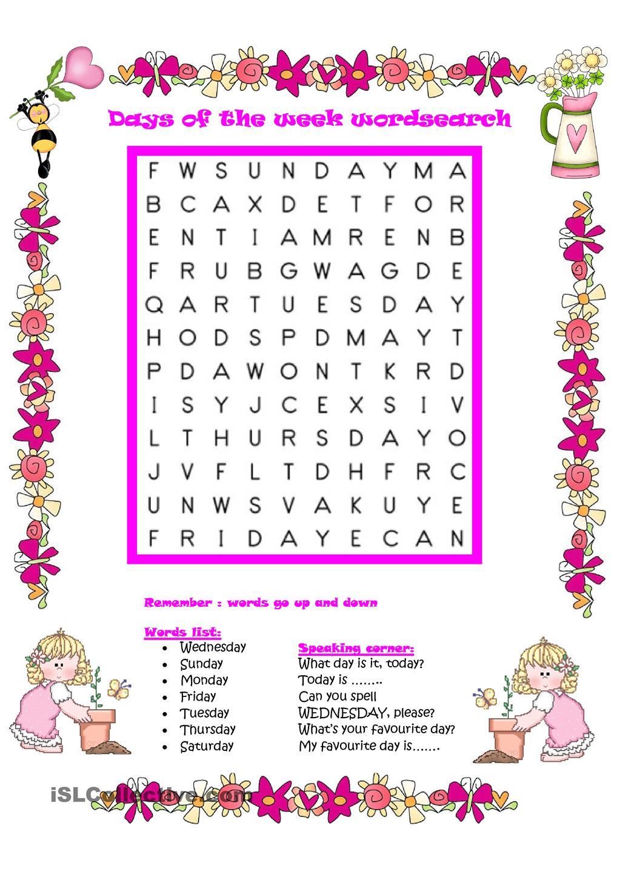 Free esl worksheets days of the week