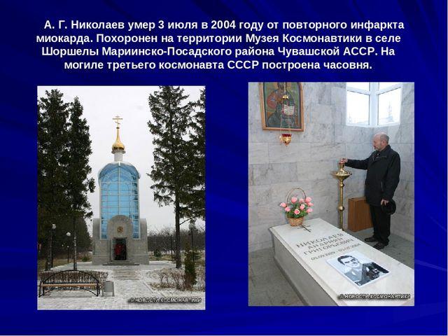 А. Г. Николаев умер 3 июля в 2004 году от повторного инфаркта миокарда. Похо...