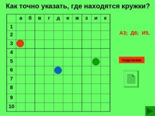 Как точно указать, где находятся кружки? подсказка А3; Д6; И5. абвгдеж