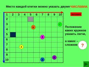 Место каждой клетки можно указать двумя Е В Б А Д Г Положение каких кружков