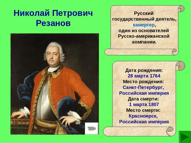 Николай Петрович Резанов Русский государственный деятель, камергер, один из о...