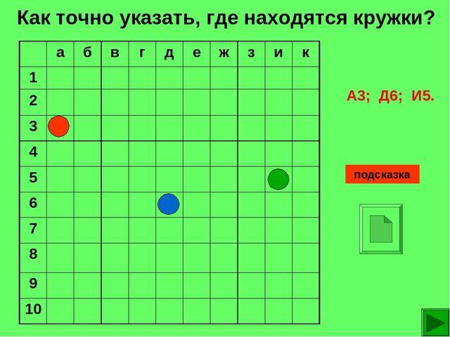 Как точно указать, где находятся кружки? подсказка А3; Д6; И5. абвгдеж...