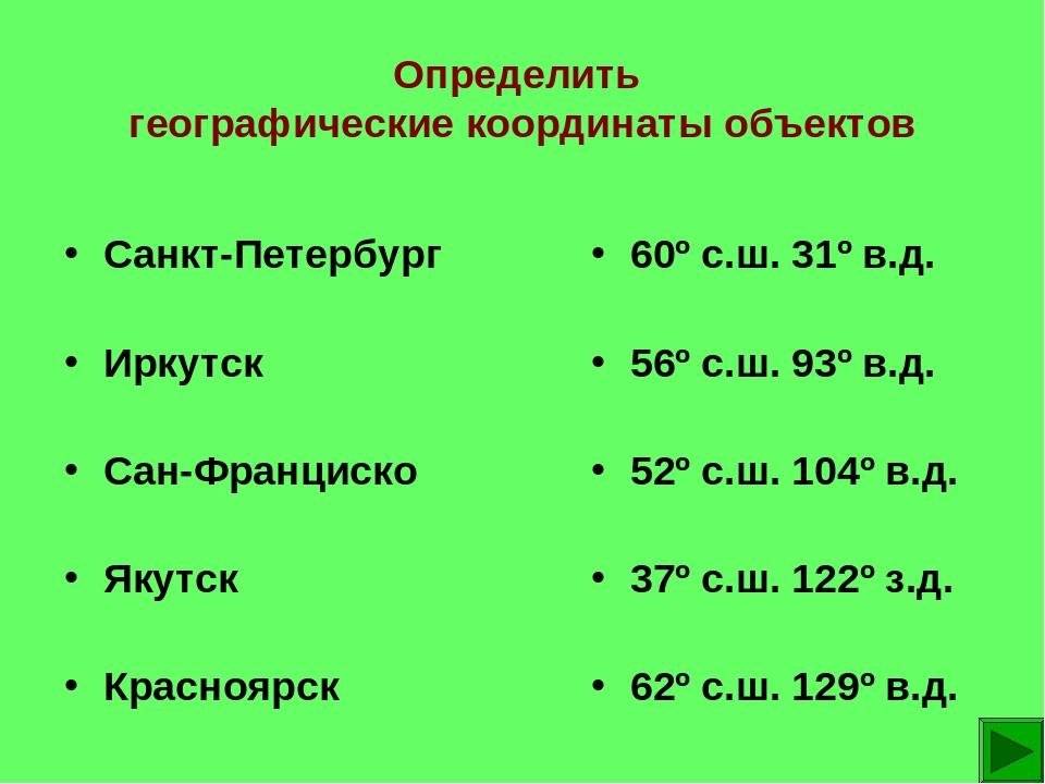 Определить географические координаты объектов Санкт-Петербург Иркутск Сан-Фра...