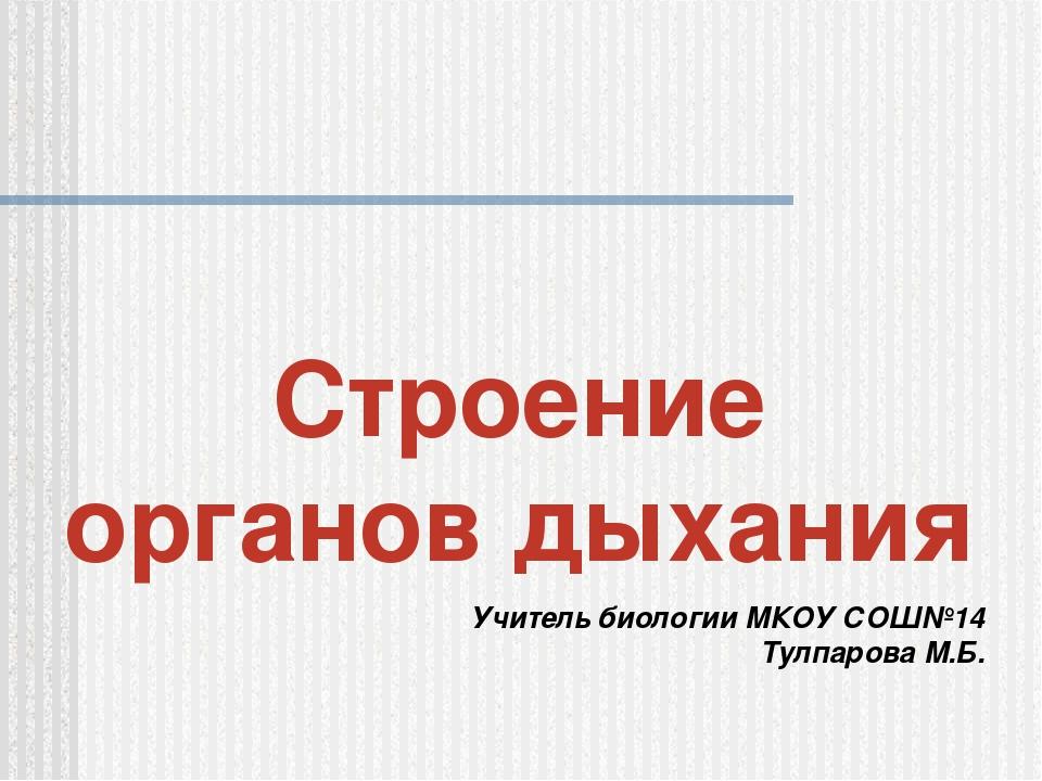 Строение органов дыхания Учитель биологии МКОУ СОШ№14 Тулпарова М.Б.