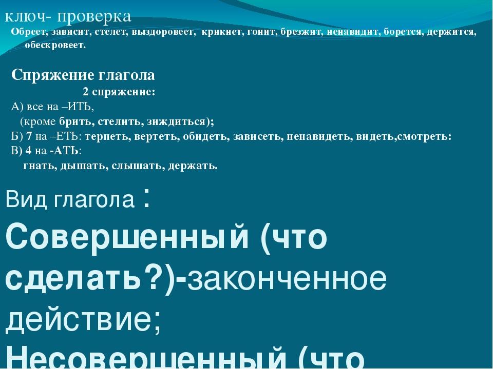 ключ- проверка Вид глагола : Совершенный (что сделать?)-законченное действие;...