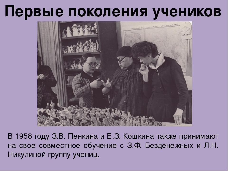Первые поколения учеников В 1958 году З.В. Пенкина и Е.З. Кошкина также прин...