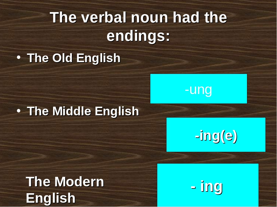 The verbal noun had the endings: The Old English The Middle English -ung -in...