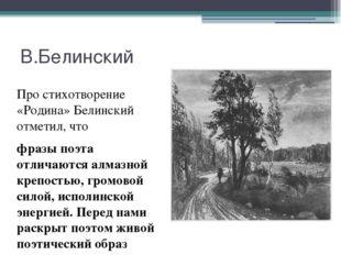 В.Белинский Про стихотворение «Родина» Белинский отметил, что фразы поэта отл