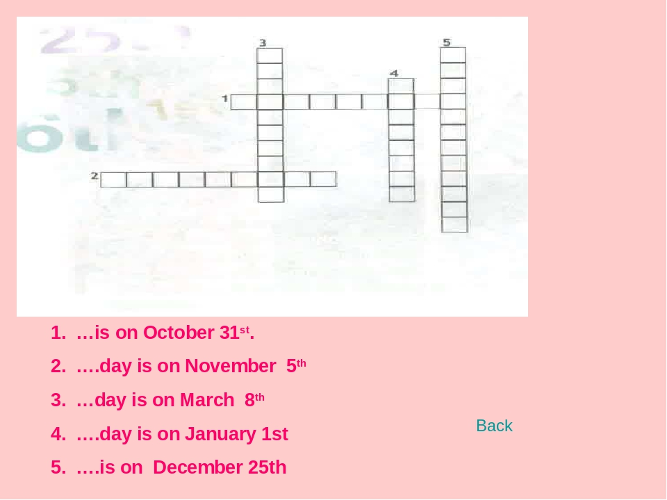 …is on October 31st. ….day is on November 5th …day is on March 8th ….day is o...