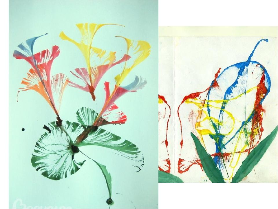 рисунок нитками на бумаге и краски прямой