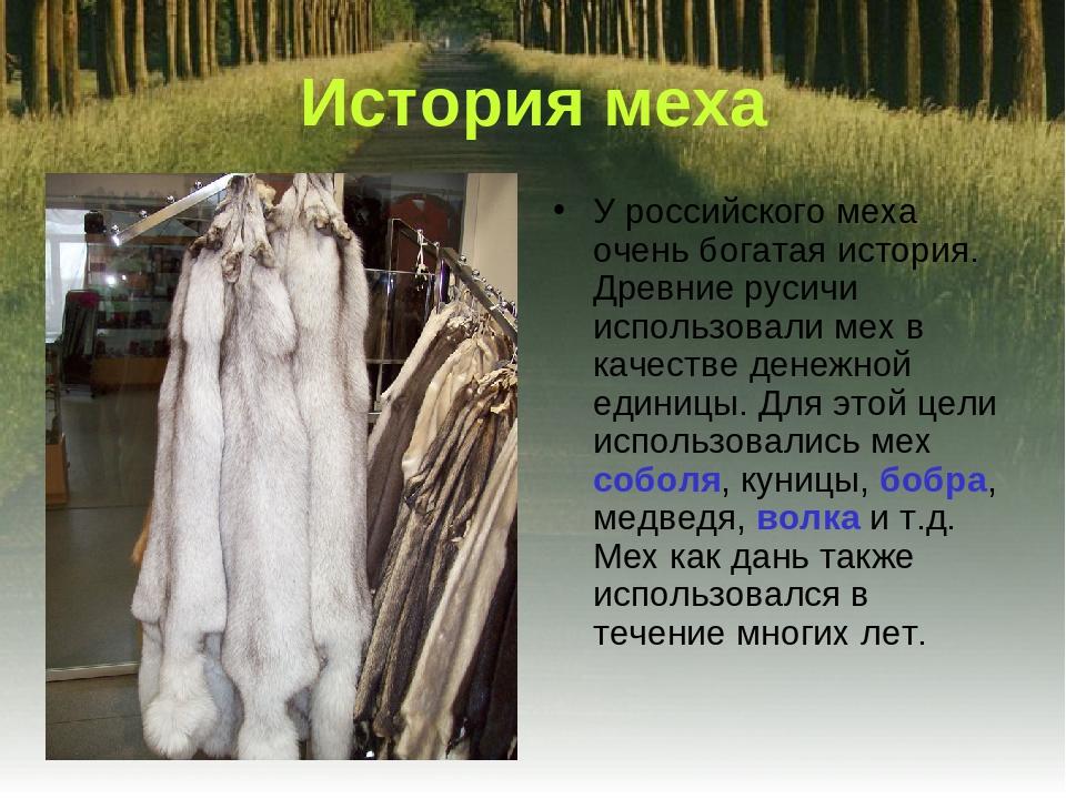 История меха У российского меха очень богатая история. Древние русичи использ...