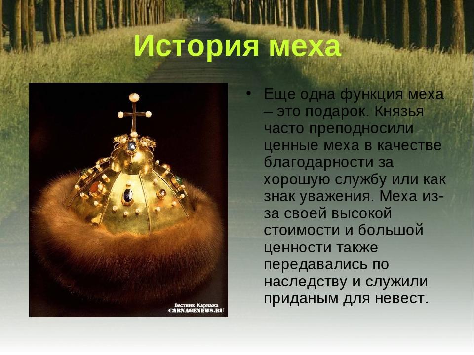 Еще одна функция меха – это подарок. Князья часто преподносили ценные меха в...
