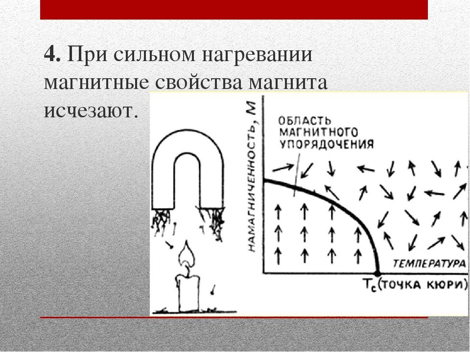 4. При сильном нагревании магнитные свойства магнита исчезают.