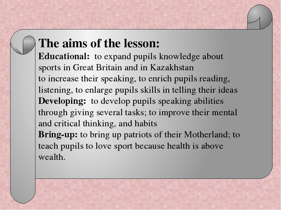 The aims of the lesson: Educational: to expand pupils knowledge about sports...