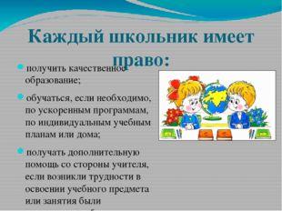 Каждый школьник имеет право: получить качественное образование; обучаться, ес