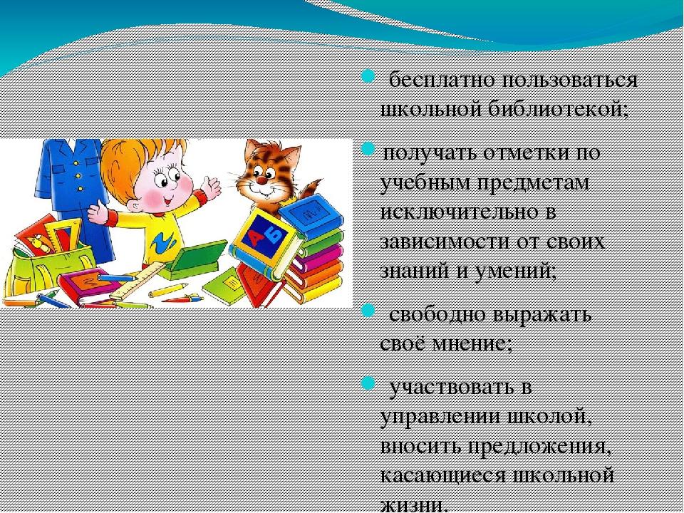 бесплатно пользоваться школьной библиотекой; получать отметки по учебным пре...