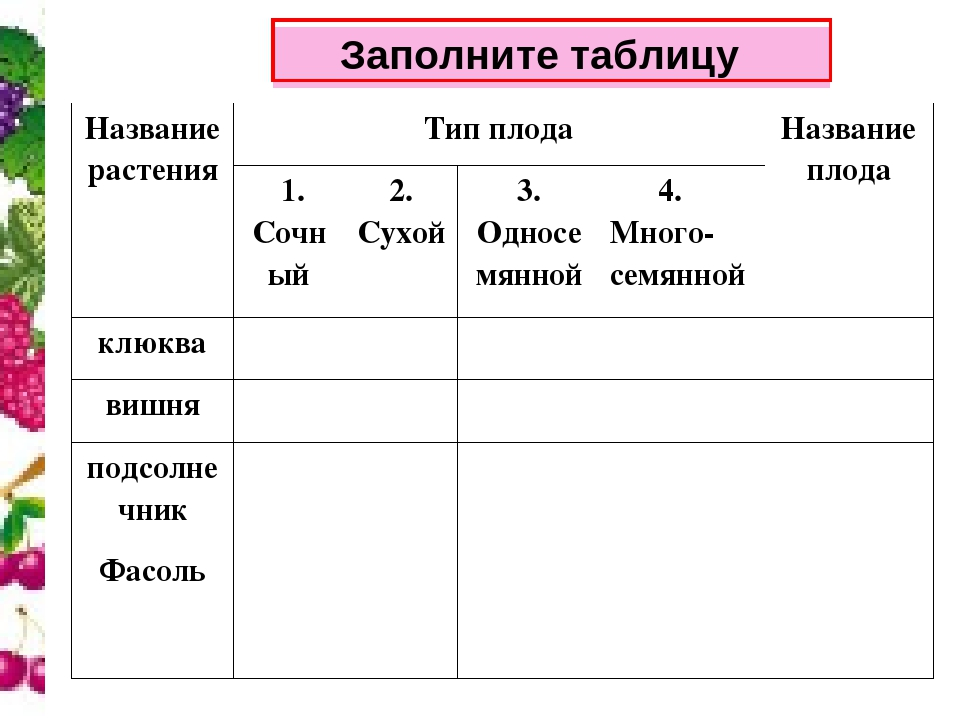 Заполните таблицу Название растенияТип плодаНазвание плода 1. Сочный2. С...