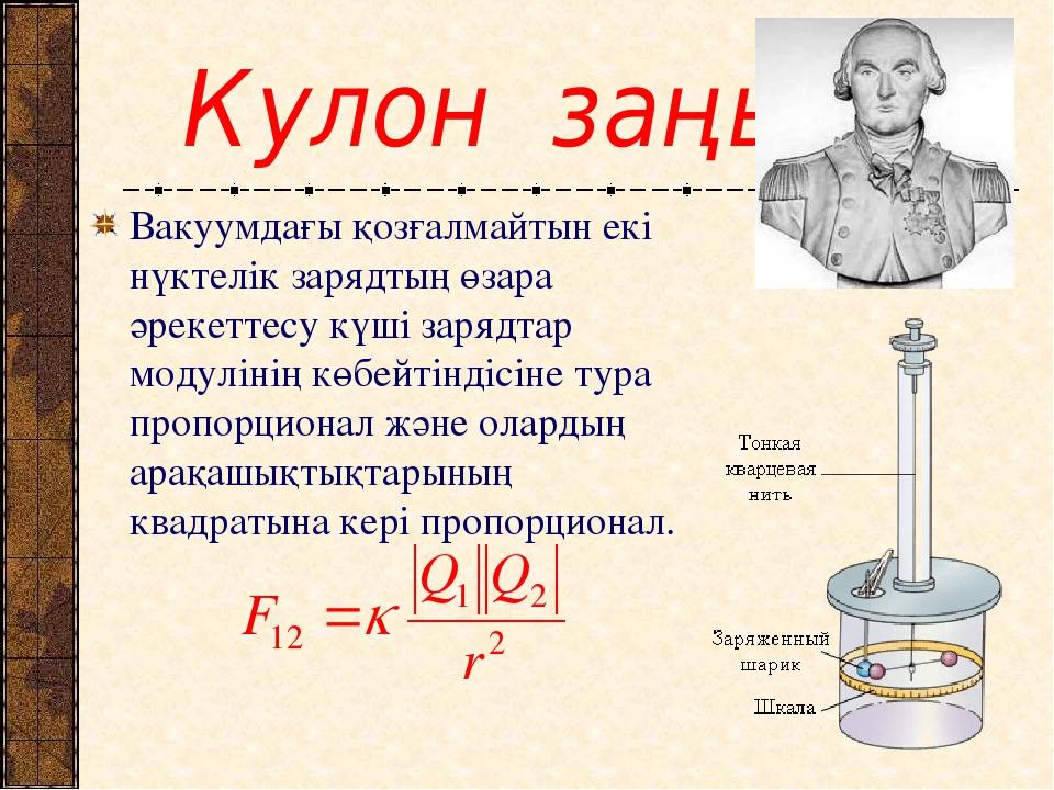 Кулон заңы Вакуумдағы қозғалмайтын екі нүктелік зарядтың өзара әрекеттесу кү...