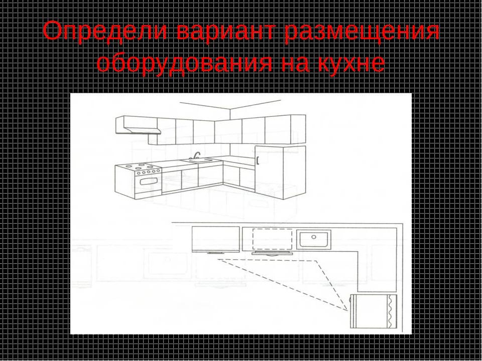 Определи вариант размещения оборудования на кухне