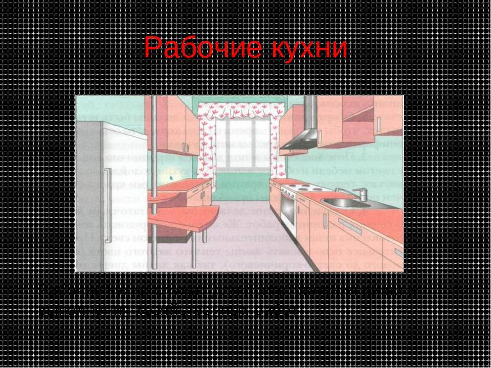 Рабочие кухни Рабочие кухни служат для приготовления пищи и выполнения хозяйс...